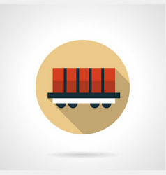 Rail boxcar beige round icon vector