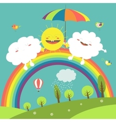 Rainbow cloud and happy sun in the sky vector