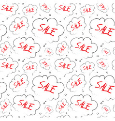 Sale seamless pattern sketch red text in cloud vector