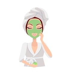 Scrubbing Girl Applying a Face Scrub vector image