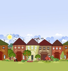 seamless border with cute houses and trees for you vector image
