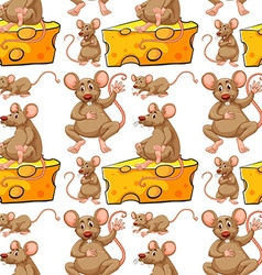 Seamless mouse and cheese slice vector