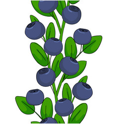 Seamless pattern of blueberries ornament leaves vector