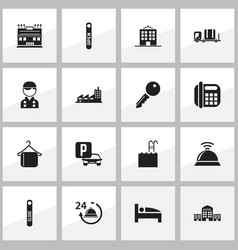 Set of 16 editable plaza icons includes symbols vector