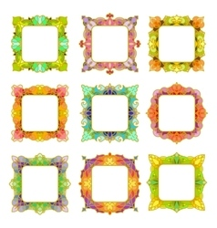 Set of 9 square frames vector image