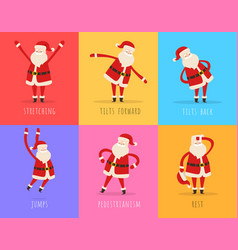 Set of active santa fitnes on color background vector