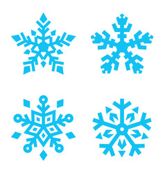 set of snowflakes isolated on white background vector image