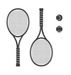 set of tennis rackets and tennis balls vector image