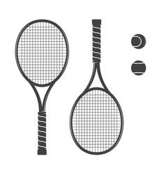 set tennis rackets and tennis balls vector image