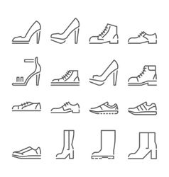 shoes icons line style flat design vector image