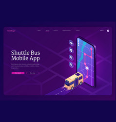 Shuttle bus mobile app isometric landing page vector