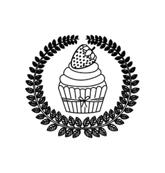 Silhouette crown of leaves with cupcake with cream vector