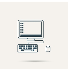 Simple stylish laptop pixel icon design vector image