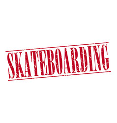 Skateboarding red grunge vintage stamp isolated vector