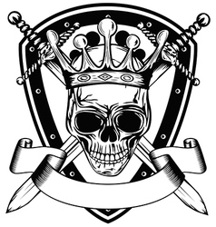 Skull in crown board and crossed swords vector