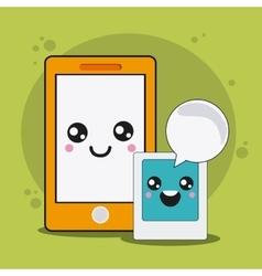 Smartphone cartooon icon kawaii and technology vector