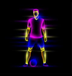 soccer player is standing near soccer ball vector image