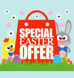 special easter offer card funny rabbit and chick vector image