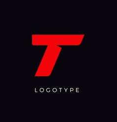Speed letter t red race monogram logo italic vector