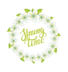 Spring time letteringCherry flowers circle wreath vector