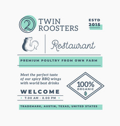 Twin roosters barbecue restaurant abstract vector