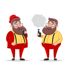 vape smoking geek hipster casual character icon vector image