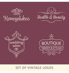 Vintage logo set line vector