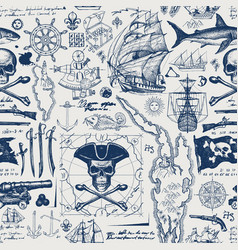 Vintage seamless background on pirate theme vector