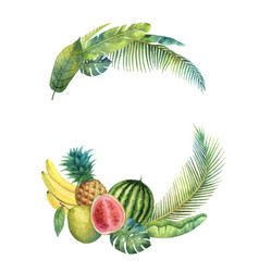 Watercolor wreath tropical leaves vector