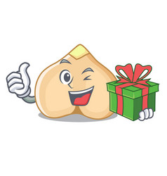 With gift chickpeas mascot cartoon style vector