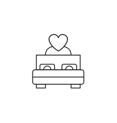 bed with heart line icon couple making love vector image