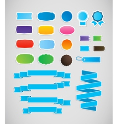 Colorful labels and ribbons tags vector