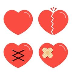 Flat design cartoon red heart icons set vector image
