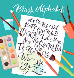 Paper sheet with hand drawn alphabet vector