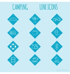 Travel and tourism line Icons set Camping vector image vector image