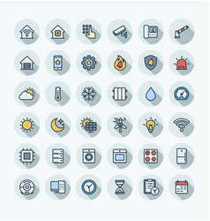 flat color thin line icons set with home vector image