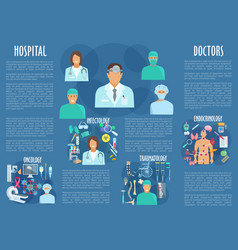 Medical poster with hospital doctors vector