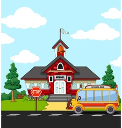School Building with bus stop vector image vector image