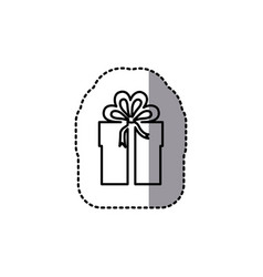 silhouette emblem sticker box with bow ribbon icon vector image vector image