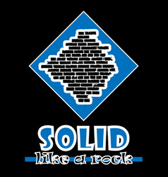 solid like a rock abstract blue style flat logo vector image vector image
