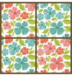 Spring set seamless patterns vector image vector image