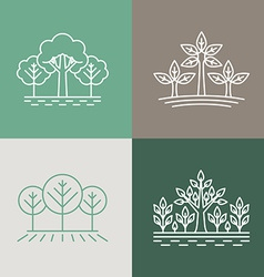 trees and parks logo design elements in linear vector image