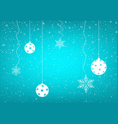 blue snowy background christmas balls vector image vector image