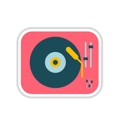 Paper sticker on white background record player vector