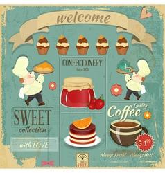 Sweet cafe menu retro design vector