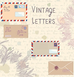 Vintage letters and paper texture set vector