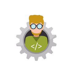 Programmer man faceless glasses vector