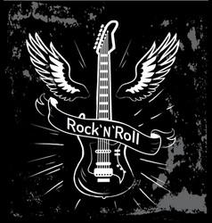 Rock n roll guitar and wings vector