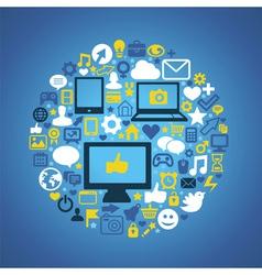 Round social media concept vector image vector image