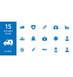 15 clinic icons vector